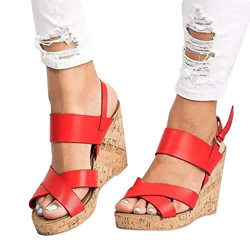 ABsoar Keilabsatz Sandalen Damen Pumps Fischmaul High Heels Gummiband Sandalen Ankle Freizeitschuhe Party Peep Toe Schuhe Elegant Wedges Schuhe