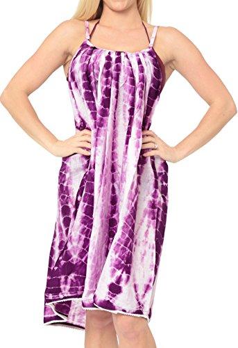 La Leela Beachwear Slip Cover-up Dress Strap Sundress Spaghetti Knee Length Maxi