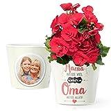 Blumentopf (ø16cm) | Geschenk zum Muttertag, Geburtstag oder als Mitbringsel für Oma mit Rahmen für Zwei Fotos (10x15cm) | Mama Weiss viel Aber Oma Weiss Alles!