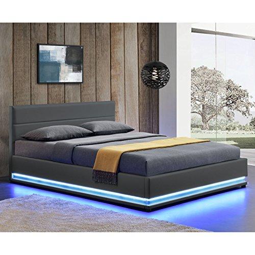 Polsterbett Toulouse 140 x 200 cm mit rundum LED und Bettkasten - dunkelgrau