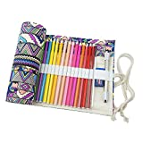 cosanter 48 ranuras lápiz bolsa Holder Funda de lona Colorful Pencil Rolled Wrap Bolsa para arte pintura