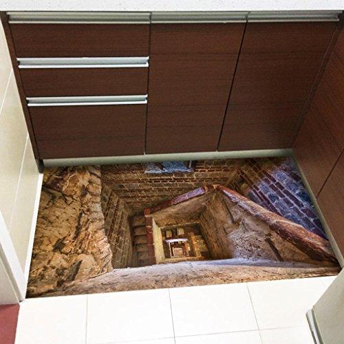 Winkey 1Rolle Abnehmbare 3d Boden Aufkleber Aufkleber Wandbild Wohnzimmer Home Decor, C, 60*120cm (Pvc-laptop-tasche)
