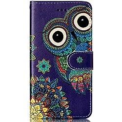 Coque Galaxy S6,Surakey Rétro Motif Housse Coque Etui à Rabat en PU Cuir Flip Case Cover Portefeuille Magnétique Wallet Coque Protection Étui pour Samsung Galaxy S6, Hibou