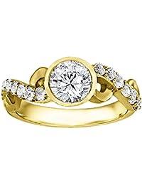 Silvernshine 1.17 Carat White Clear CZ Diamond 10k Yellow Gold Over Engagement Wedding Ring