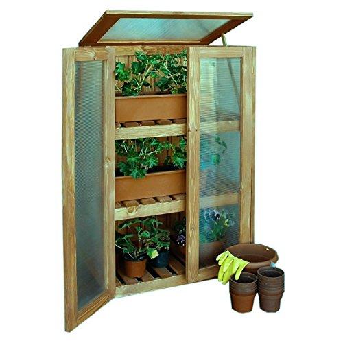 Gartenpirat Gewächshaus Schrank aus Holz Treibhaus Anzuchtschrank für Balkon Terrasse