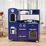 Cocina de juguete grande de madera azul de TeamsonKidsTD-11414B