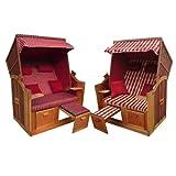 Brubaker Fauteuil-cabine de plage 2 personnes avec coussin à housses réversibles rouge
