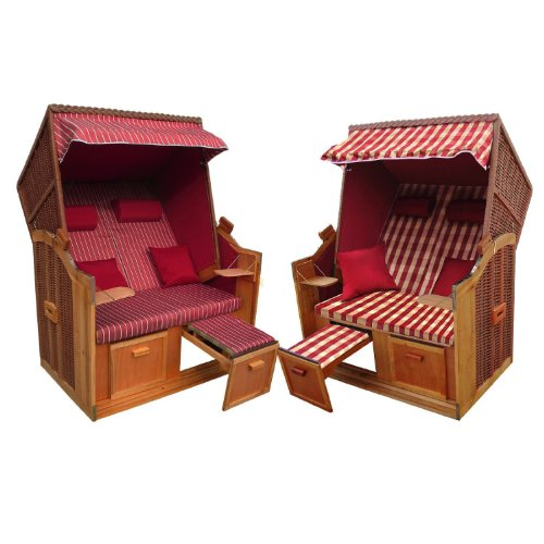 Brubaker 2-Sitzer Strandkorb Bezug Rot + Luxusschutzhülle + Wechselbezug - 1 Strandkorb, 2 Designs