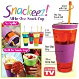 LAZYMARTS Snackeez Cup / Snack & Drink Snackeez / Travel Cup All In One Qty.(1nos) (Multi Color)