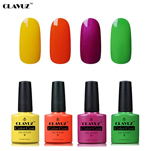Set de Vernis à Ongles Semi-Permanent UV LED Soakoff 4pcs Kit Manucure 10ml de Clavuz-KIT 014