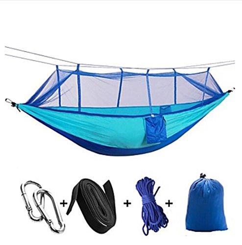 Hängematte Kabelbinder Campingbett Seiltaschen SchlösserFeuchtigkeitsundurchlässig Gut belüftet rechteckig Extraleicht(UL) Anti - Moskito , blue