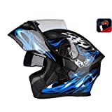 JiaoLiao Uncovering Helm Motorrad Outdoor Reiten LED Rücklicht Warning HD Antibeschlag-Spiegel Integralhelm Herren Damen Cool - Large - Black Blue Devil