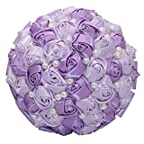 Anself 18cm Purple Artificial Bouquet Satin Pearls Rose Bridal Bouquet Supplies