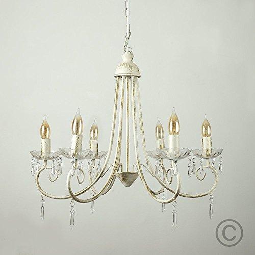 Shabby chic chandelier amazon large modern distressed white shabby chic 6 way ceiling light chandelier aloadofball Images