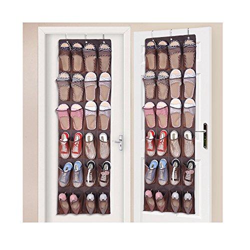 Tür-Hängeaufbewahrung für Schuhe, 24 große Netzfächer, strapazierfähig, Schuh-Organizer, Befestigung an der Tür, faltbar cafe (Cafe-türen)