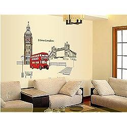 ufengke® Bridge Londra Big Ben Torre Adesivi Murali, Camera da Letto Soggiorno Adesivi da Parete Removibili/Stickers Murali/Decorazione Murale