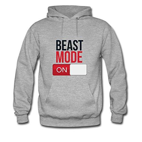 HGLee Printed Personalized Custom Beast Mode On Women's Hoodie Hooded Sweatshirt Gray