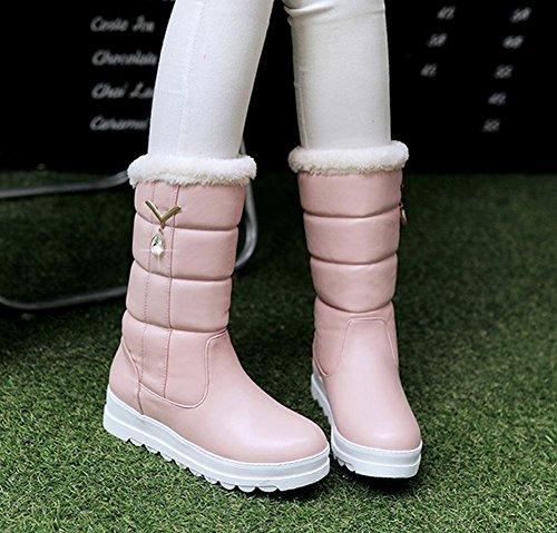 Mee Shoes Damen runde halbschaft mit Strass Schneestiefel Pink