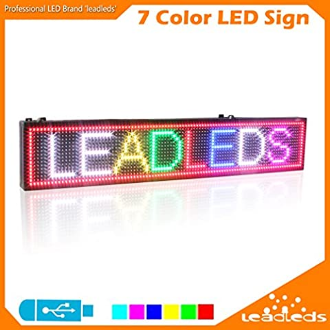 Leadleds Full Color LED Display 39 X 7.5 Inches RGB 7 Colors Message Board, PC Software Program, By USB Flash Drive Save and