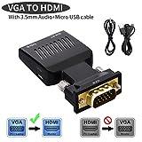 Lemorele VGA zu HDMI Adapter Audio Vergoldet 1080P 60Hz Active VGA Stecker auf HDMI Buchse Konverter mit Audio Ausgang für HDTV,Monitore,Projektor,Displayer,Laptop,PC(Audio und USB Kabel enthalten)