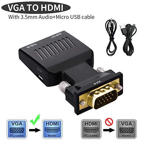 Lemorele VGA zu HDMI Adapter Vergoldet 1080P 60Hz Active VGA Buchse auf HDMI Stecker Konverter mit Audio für HDTV, Monitore, Projektor, Displayer, Laptop, PC (Audio und USB Kabel enthalten) (Monitor-und Audio-kabel)