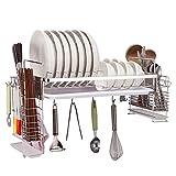 Shelf LYG Küchenwagen Regal, 304 Edelstahl Küche hängenden Geschirrkorb Ablaufgitter Wand hängen Wand Messer Halter Haken einlagig Küchenregal