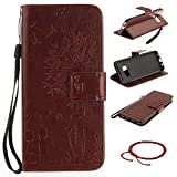 GOCDLJ Cell Phone Case for Samsung Galaxy S8 Design Couple Dandelion PU Leather Flip Cover Wallet Stand Function with Lanyard Strap Holder Pocket Shell Brown