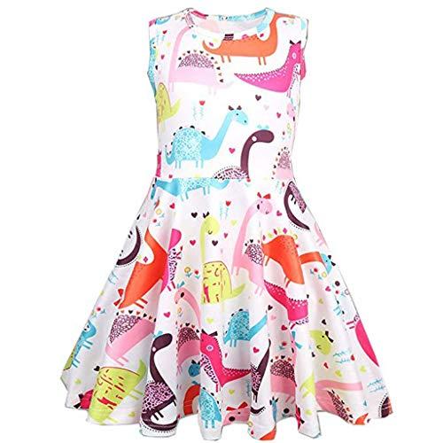 WUSIKY Baby Mädchen Kleid, Kleinkind Kinder Baby Mädchen Cartoon Dinosaurier Druck Tunika Prinzessin Party Kleid Minikleid Elegante Lässige Mode Tutu Rock 2019 Neue Mädchen Kleidung(150,Mehrfarbig) -