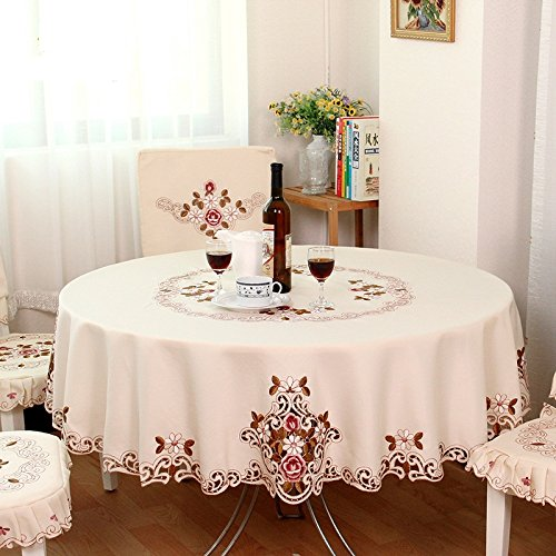 FADFAY Home Textile,Modern American Country Style Vintage Handmade Table Cloth,Designer Round Table Cloth,Wedding Round Tablecloth by FADFAY