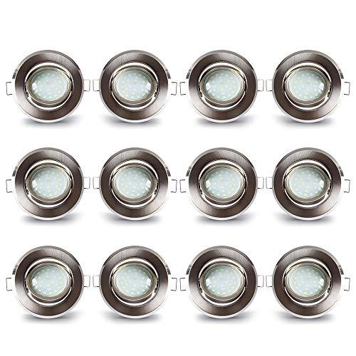 LAMPAOUS Led Einbaustrahler 12er-Set Aluminium Einbauleuchten mit 5 Watt 400lm Led Keramik Modul Einbauspots Deckenspots Deckenleuchten Warmweiss 230V 30mm Einbautiefe 30 Grad Schwenkbar Flach Rund