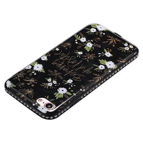 Custodia iPhone 7, iPhone 7 Cover Flower, SainCat Custodia in Silicone Morbida e Hard PC Protettiva Cover per iPhone 7, Custodia Bling Glitter Strass Diamante 3D Design Ultra Slim Silicone Case Ultra  Piccoli Fiori