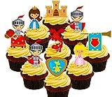 Märchen-Party-Set - Ritter, Prinzessinnen, Drachen und Schlösser, essbare Kuchendekorationen für Kinder - aufstellbare Oblaten-Aufsätze , Pack of 72
