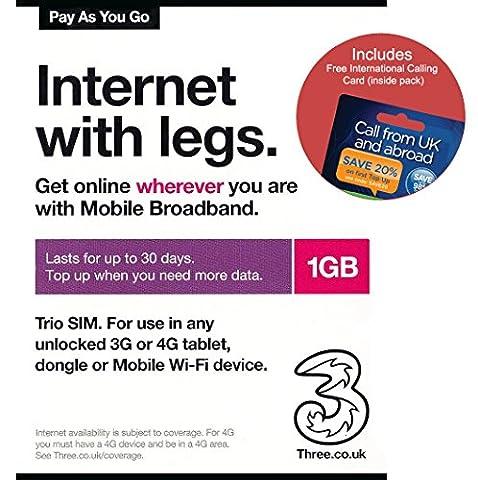 Three UK PAYG Trio Data SIM Card Mobile Broadband -1GB - (RETAIL PACK)