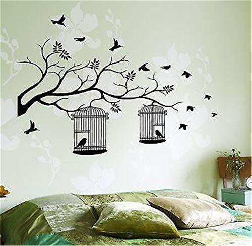 Vinyl Wall Art inspirierende Zitate und Spruch Home Dekor Aufkleber Aufkleber Vögel Käfig Baum Zweig Natur