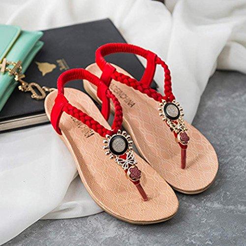 Ularma Damen Sandalen Zehentrenner Sommer indoor & outdoor Lässige Flache Schuhe Rot