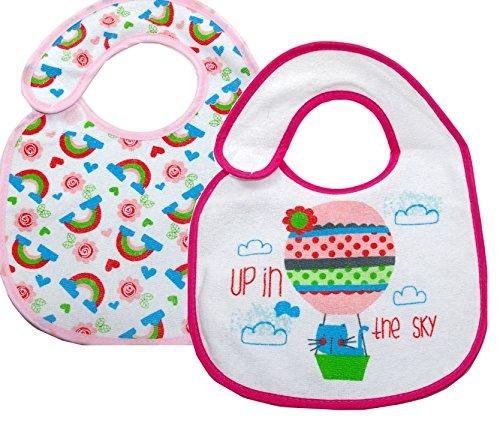 Baby Lätzchen rosa Mädchen mit PEVA Rückseite - 2-er Pack