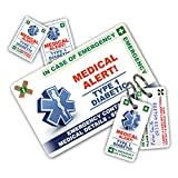 DIABETES In Case of Emergency (I.C.E.) Card Pack with Key Rings & Stickers from ICEcard. WRITABLE reverse for Emergency Contact & Medical Info. TYPE 1 DIABETIC version