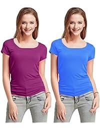 Fashion Line Cotton Lycra Tshirt for Girls/Women (Purple & Light Blue, Pack of 2)
