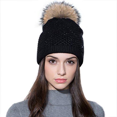 Ferand - Bonnet Laine Tricotée avec Strass à Pompon Detachable en Fourrure Raccoon Véritable Hiver - Femme - Noir & Pompon naturel