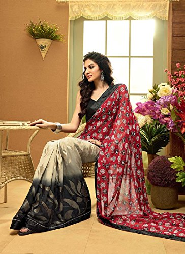 Fashionista Retail Fashionista Voguish Beige, Black N Red Half N Half Saree Size :Free Size Color : Red