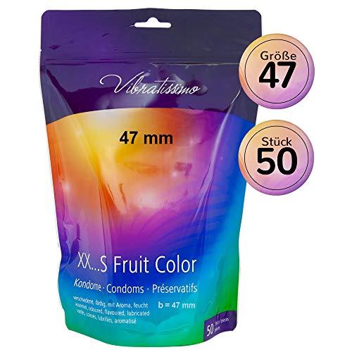 """Sonderpreis!!! AMOR Vibratissimo\""""Meine Größe 47mm FRUIT COLOR\"""", 50er Pack Kondome, verschiedene Farben und Aromen"""