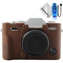 First2savvv marron oscuro cuerpo completo caucho de TPU funda estuche Silicona para cámara para Fujifilm X-T20 X-T10 XT20 + paño de limpieza + Lector de tarjetas SD + Cuerda anti-perdida XJPT-GJ-XT20-10TZ2