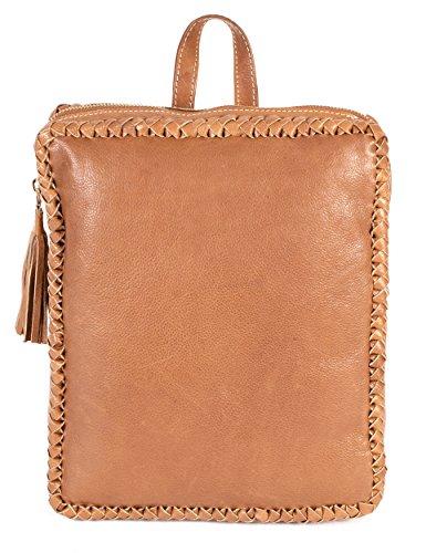 rl670 Marron clair Londres en cuir véritable Sac à dos – Tissage avec détails Fashion Bag