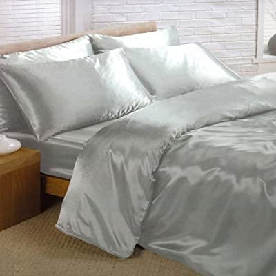 Silver Satin Single Duvet Cover, Fitted Sheet and 2 Pillowcases Bedding Set - cheap UK light store.