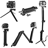 3Way Multi-Function Folding Arm Lever Tripod Mount for GoPro Hero 5 4 SJ4000 Sjcam XiaoYi Camera Monopod Go Pro Accessories
