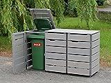 3er Mülltonnenbox / Mülltonnenverkleidung 120 L Holz, Transparent Geölt Grau