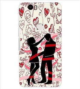 Fuson Pattern Love Couple Back Case Cover for HUAWEI NEXUS 6P - D3709