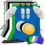 Abeststudio Kit d'éclairage parapluie continu pour studio photo vidéo, 2x135W Ampoule, 5x 1.6 * 3m Backdrops (Noir Blanc Vert Bleu Gris), 2x Parapluie, 2x Lumière stand, 2 * 3m fond Support stand + 60cm 5 en 1 panneau réflecteur