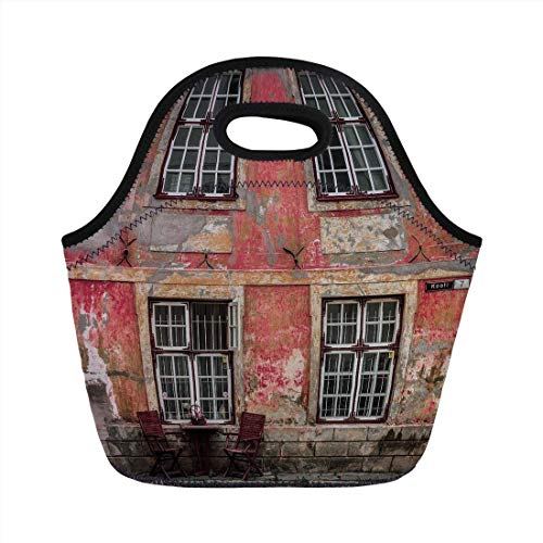 Portable Bento Lunch Bag,Urban,Medieval European Structure Nordic Old City Travel Ancient Landmark Decorative,Pink Light Orange Burgundy,for Kids Adult Thermal Insulated Tote Bags