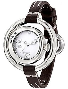 UNODE50 Damen Watch mit handgearbeitetem Lederarmband Cuánto tiempo, REL0101BLNMAR0U